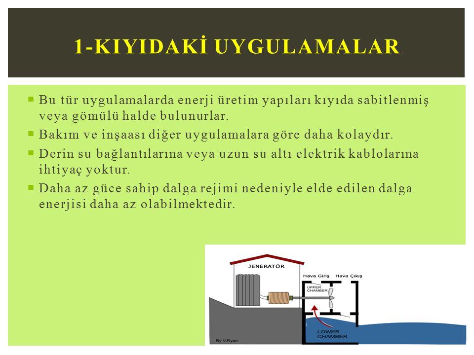  Bu tür uygulamalarda enerji üretim yapıları kıyıda sabitlenmiş veya gömülü halde bulunurlar.