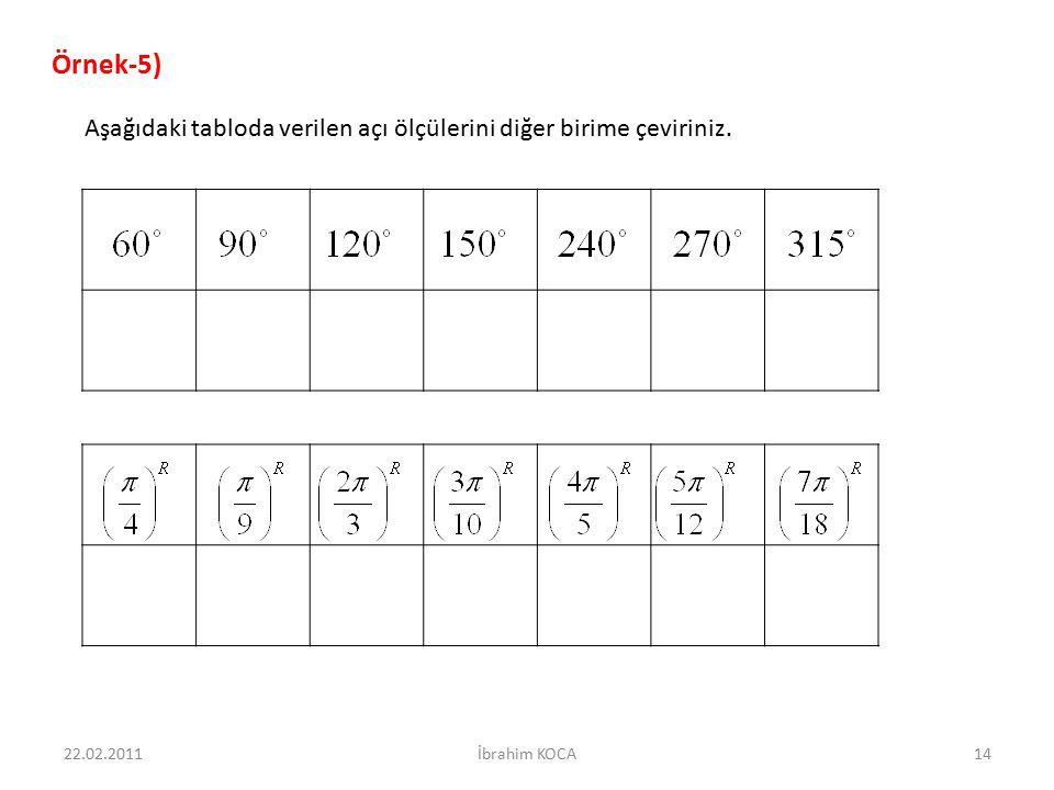 22.02.201114İbrahim KOCA Aşağıdaki tabloda verilen açı ölçülerini diğer birime çeviriniz. Örnek-5)