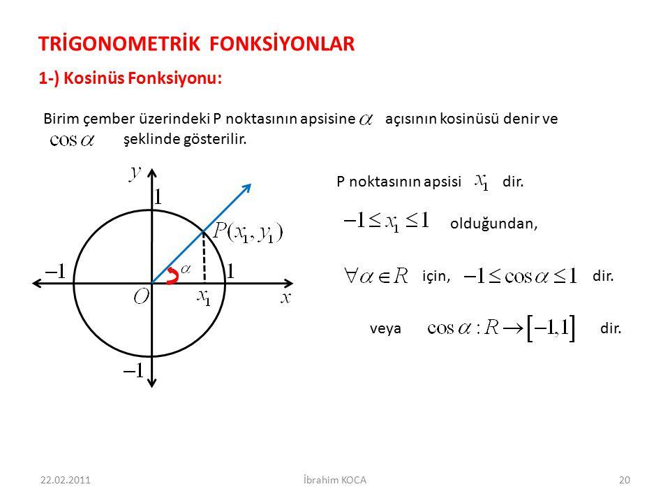veya dir. için, dir. olduğundan, Birim çember üzerindeki P noktasının apsisine açısının kosinüsü denir ve şeklinde gösterilir. 22.02.2011İbrahim KOCA2