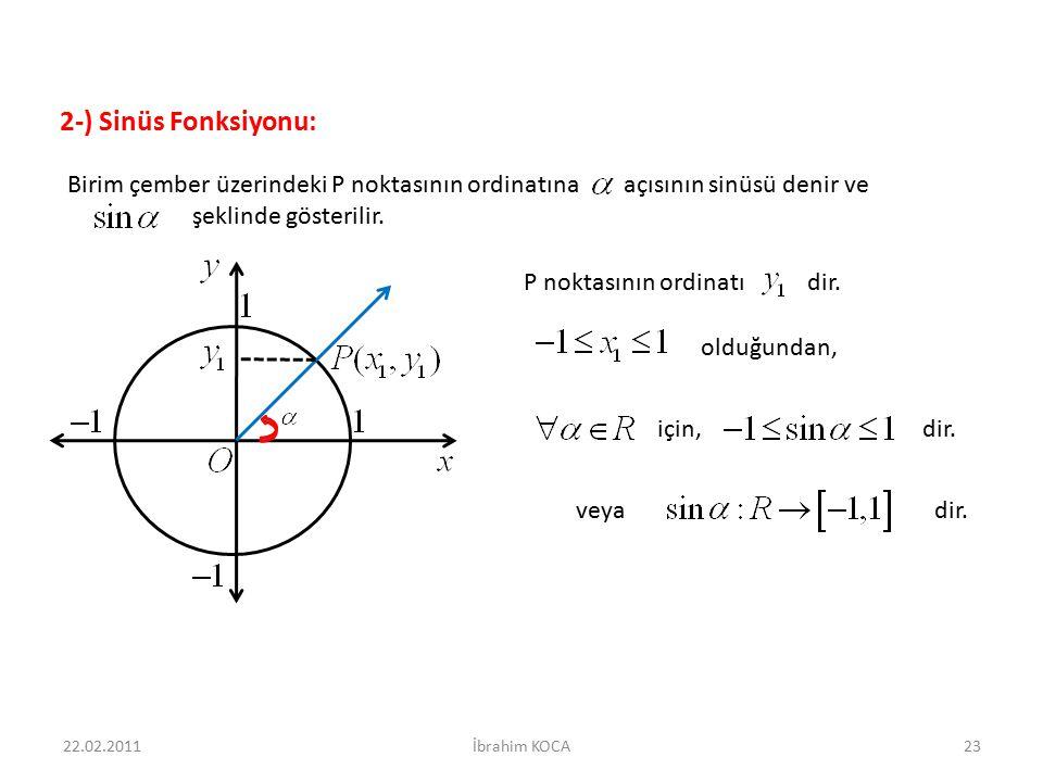 veya dir. için, dir. olduğundan, Birim çember üzerindeki P noktasının ordinatına açısının sinüsü denir ve şeklinde gösterilir. 22.02.2011İbrahim KOCA2