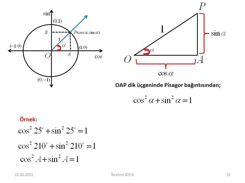 22.02.2011İbrahim KOCA31 OAP dik üçgeninde Pisagor bağıntısından; Örnek: