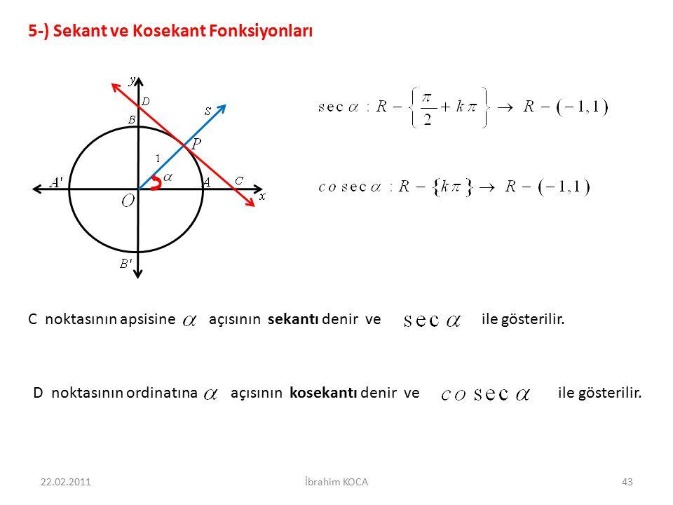 22.02.2011İbrahim KOCA43 5-) Sekant ve Kosekant Fonksiyonları C noktasının apsisine açısının sekantı denir ve ile gösterilir. D noktasının ordinatına