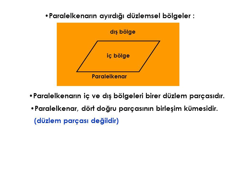 Paralelkenarın ayırdığı düzlemsel bölgeler : Paralelkenarın iç ve dış bölgeleri birer düzlem parçasıdır. Paralelkenar, dört doğru parçasının birleşim