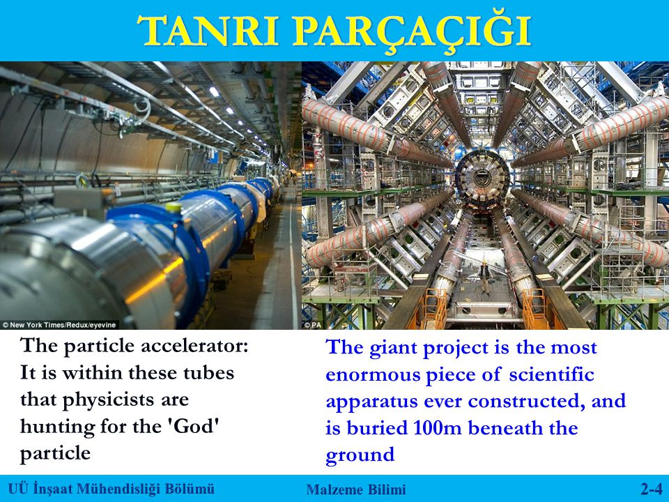 The giant project is the most enormous piece of scientific apparatus ever constructed, and is buried 100m beneath the ground The particle accelerator: It is within these tubes that physicists are hunting for the God particle