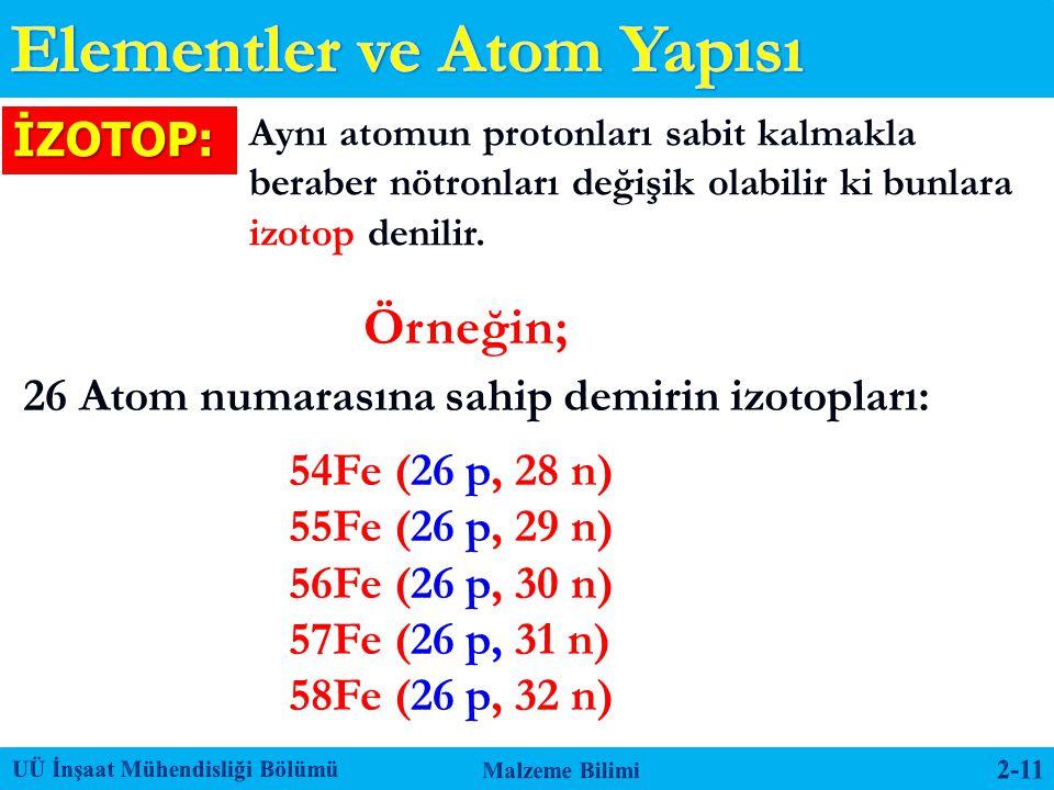 Aynı atomun protonları sabit kalmakla beraber nötronları değişik olabilir ki bunlara izotop denilir. Örneğin; 26 Atom numarasına sahip demirin izotopl