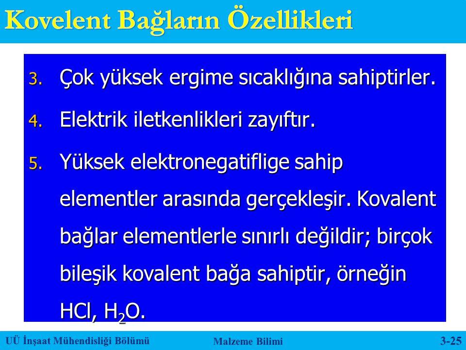 3. Çok yüksek ergime sıcaklığına sahiptirler. 4. Elektrik iletkenlikleri zayıftır. 5. Yüksek elektronegatiflige sahip elementler arasında gerçekleşir.