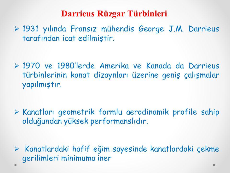 Darrieus Rüzgar Türbinleri  1931 yılında Fransız mühendis George J.M. Darrieus tarafından icat edilmiştir.  1970 ve 1980'lerde Amerika ve Kanada da