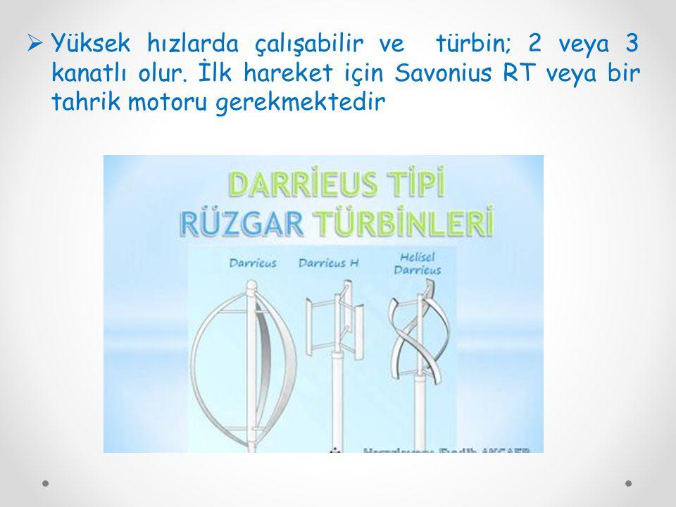  Yüksek hızlarda çalışabilir ve türbin; 2 veya 3 kanatlı olur. İlk hareket için Savonius RT veya bir tahrik motoru gerekmektedir