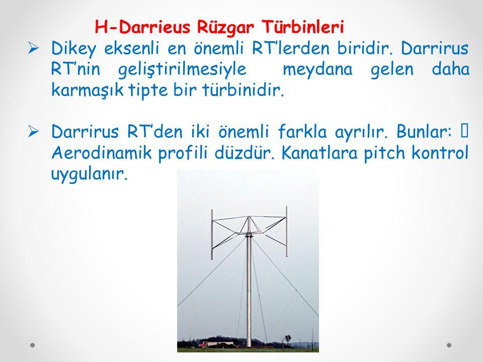 H-Darrieus Rüzgar Türbinleri  Dikey eksenli en önemli RT'lerden biridir.