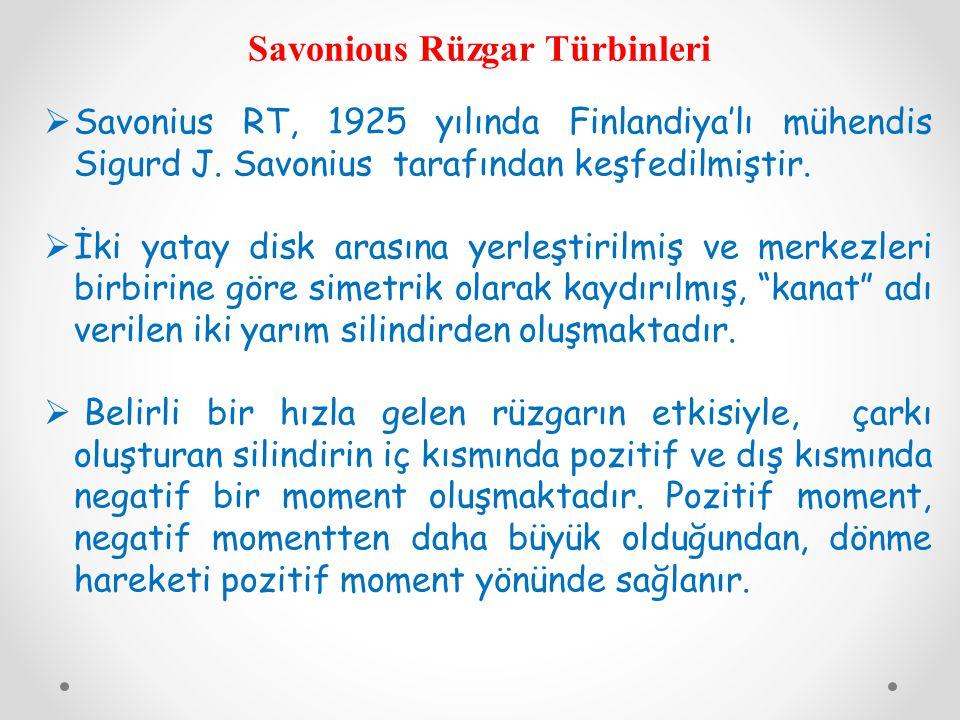 Savonious Rüzgar Türbinleri  Savonius RT, 1925 yılında Finlandiya'lı mühendis Sigurd J. Savonius tarafından keşfedilmiştir.  İki yatay disk arasına