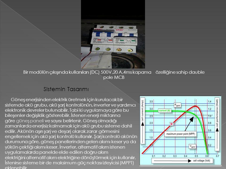 Güneş enerjisinden elektrik üretmek için kurulacak bir sistemde akü grubu, akü şarj kontrolünün, inverter ve yardımcı elektronik devreler bulunabilir.