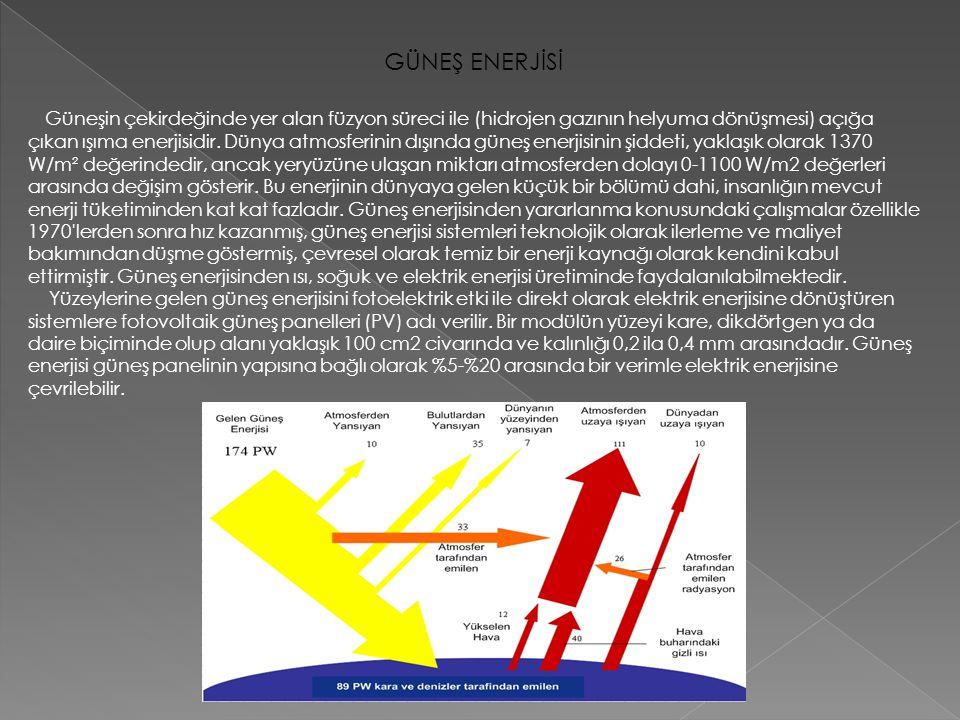 GÜNEŞ ENERJİSİ Güneşin çekirdeğinde yer alan füzyon süreci ile (hidrojen gazının helyuma dönüşmesi) açığa çıkan ışıma enerjisidir. Dünya atmosferinin