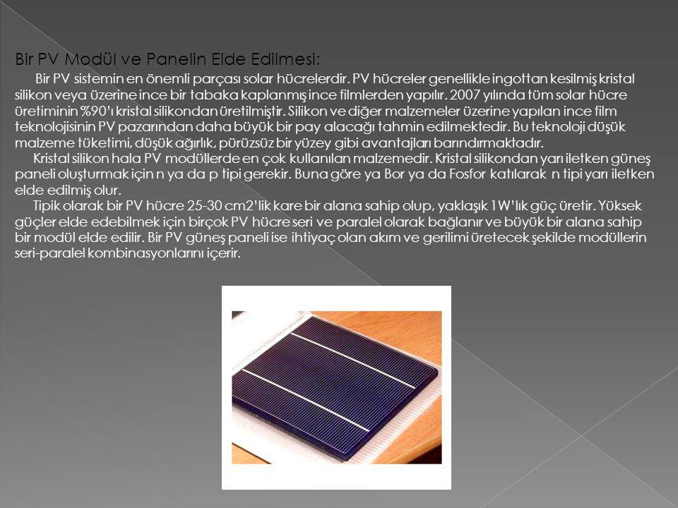 Bir PV Modül ve Panelin Elde Edilmesi: Bir PV sistemin en önemli parçası solar hücrelerdir. PV hücreler genellikle ingottan kesilmiş kristal silikon v