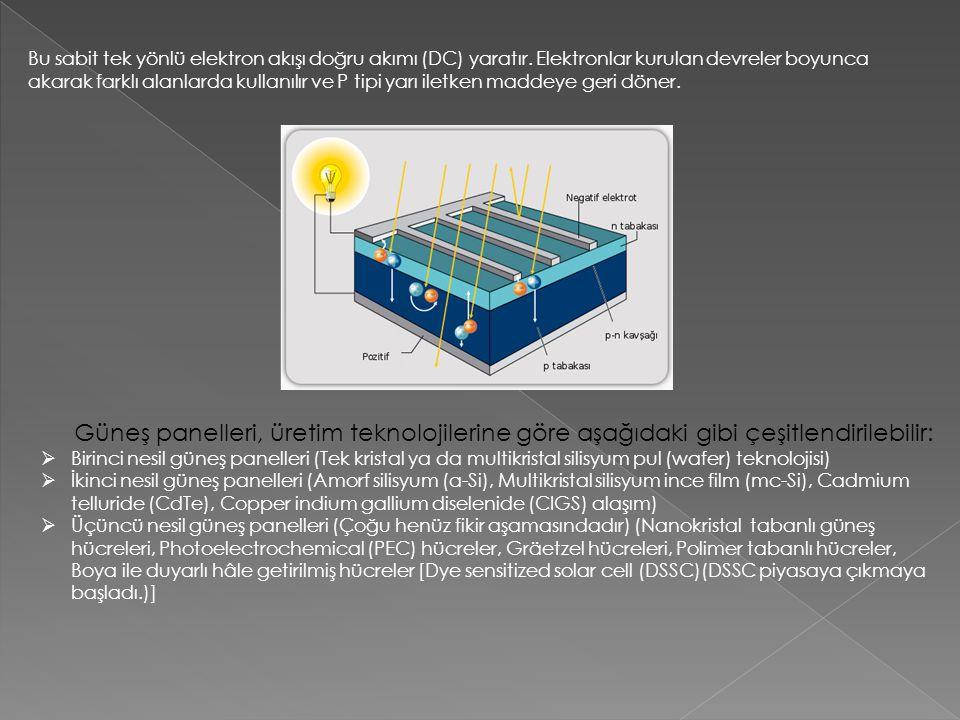 Bu sabit tek yönlü elektron akışı doğru akımı (DC) yaratır. Elektronlar kurulan devreler boyunca akarak farklı alanlarda kullanılır ve P tipi yarı ile