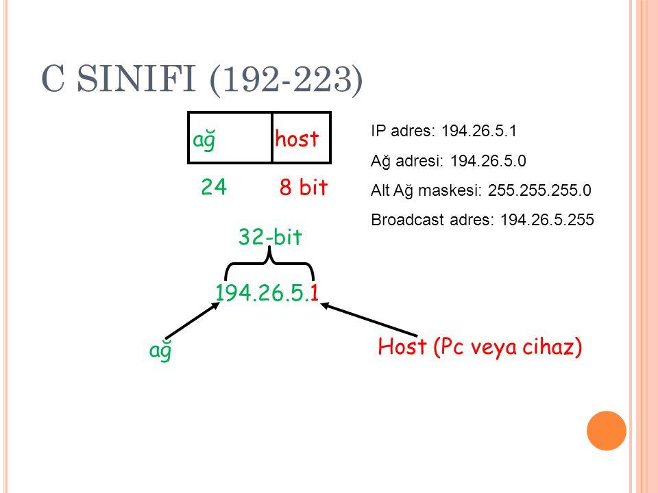 C SINIFI (192-223) ağ host 24 8 bit 194.26.5.1 ağ 32-bit Host (Pc veya cihaz) IP adres: 194.26.5.1 Ağ adresi: 194.26.5.0 Alt Ağ maskesi: 255.255.255.0 Broadcast adres: 194.26.5.255