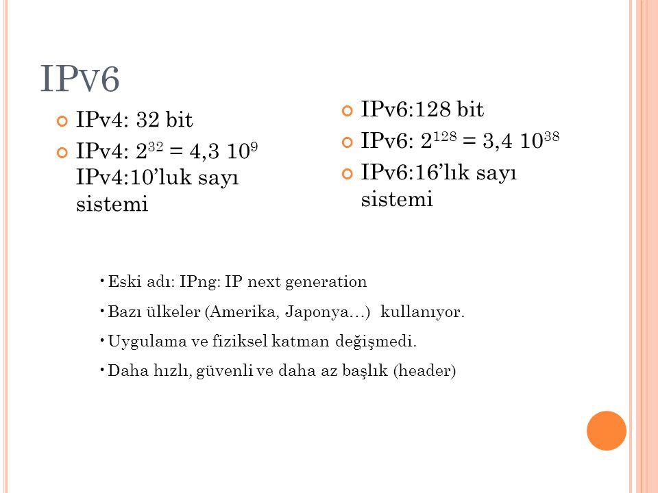 IP V 6 IPv4: 32 bit IPv4: 2 32 = 4,3 10 9 IPv4:10'luk sayı sistemi IPv6:128 bit IPv6: 2 128 = 3,4 10 38 IPv6:16'lık sayı sistemi Eski adı: IPng: IP next generation Bazı ülkeler (Amerika, Japonya…) kullanıyor.