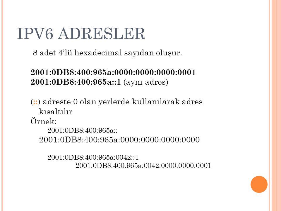 IPV6 ADRESLER IPv6 adres: FE80:0000:0000:0000:02A0:D2FF:FEA5:E9F5 / 64 / x  ağ numarasını gösteren bit sayısı Örneğin; /32 ise 128 bitin ilk 32 biti ağ numarasını diğerleri host numarasını gösterir /64 ise 128 bitin ilk 64 biti ağ numarasını diğerleri host numarasını gösterir Ağ no: FE80:0000:0000:0000 Host no: 02A0:D2FF:FEA5:E9F5