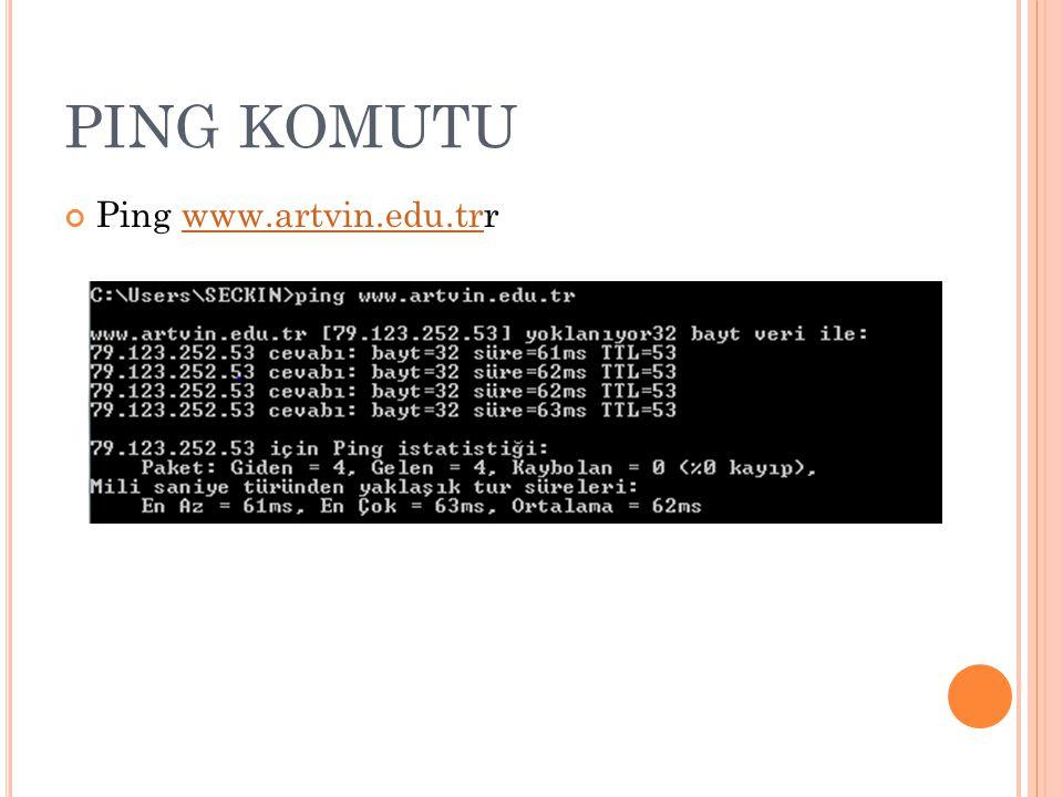 PING KOMUTU Ping www.artvin.edu.trrwww.artvin.edu.tr