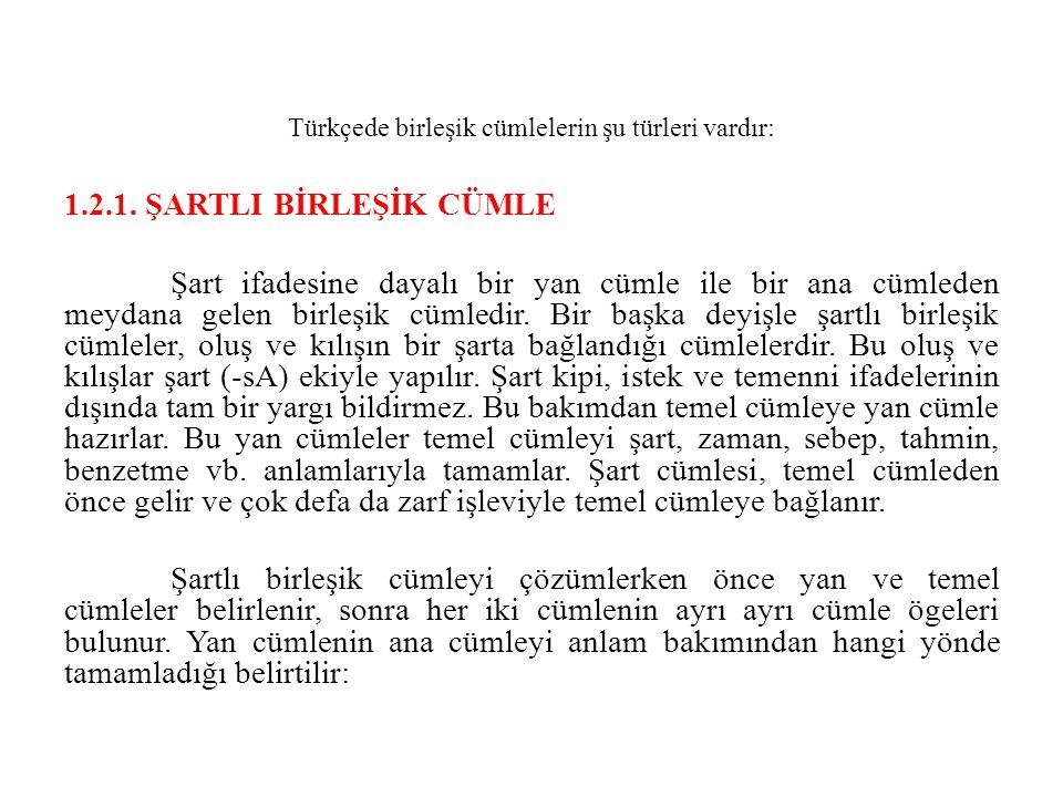 Türkçede birleşik cümlelerin şu türleri vardır: 1.2.1. ŞARTLI BİRLEŞİK CÜMLE Şart ifadesine dayalı bir yan cümle ile bir ana cümleden meydana gelen bi