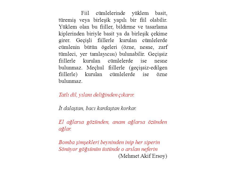 Fiil cümlelerinde yüklem basit, türemiş veya birleşik yapılı bir fiil olabilir.