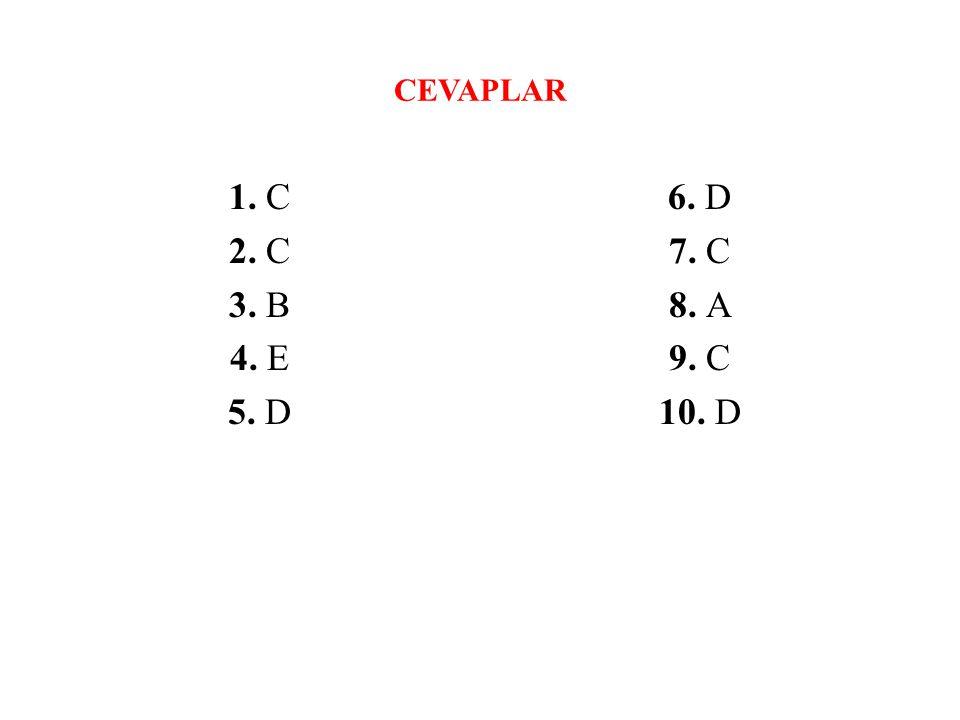 CEVAPLAR 1. C 2. C 3. B 4. E 5. D 6. D 7. C 8. A 9. C 10. D