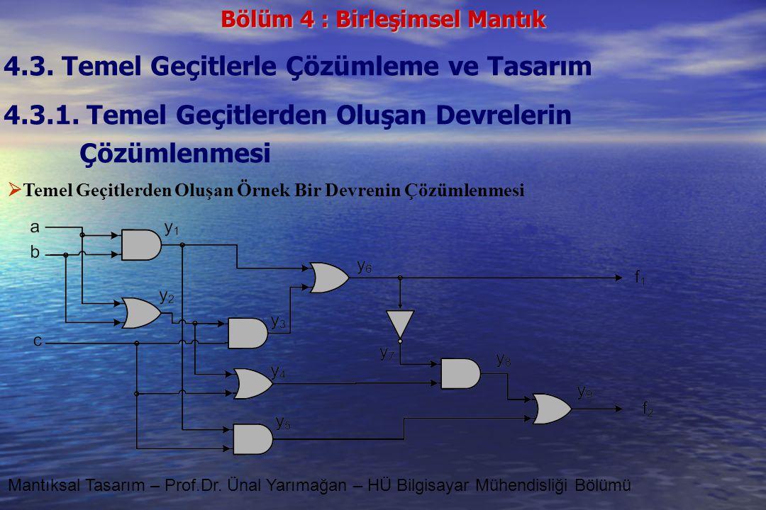Bölüm 4 : Birleşimsel Mantık Mantıksal Tasarım – Prof.Dr. Ünal Yarımağan – HÜ Bilgisayar Mühendisliği Bölümü 4.3. Temel Geçitlerle Çözümleme ve Tasarı