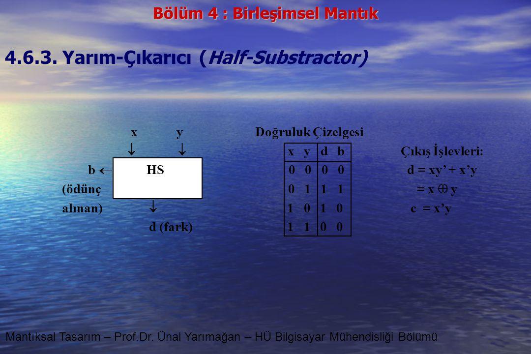 Bölüm 4 : Birleşimsel Mantık Mantıksal Tasarım – Prof.Dr. Ünal Yarımağan – HÜ Bilgisayar Mühendisliği Bölümü 4.6.3. Yarım-Çıkarıcı (Half-Substractor)
