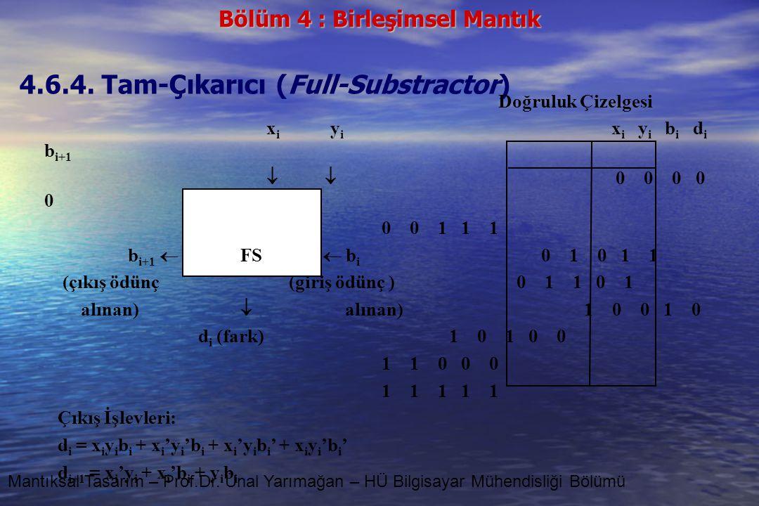 Bölüm 4 : Birleşimsel Mantık Mantıksal Tasarım – Prof.Dr. Ünal Yarımağan – HÜ Bilgisayar Mühendisliği Bölümü 4.6.4. Tam-Çıkarıcı (Full-Substractor) Do