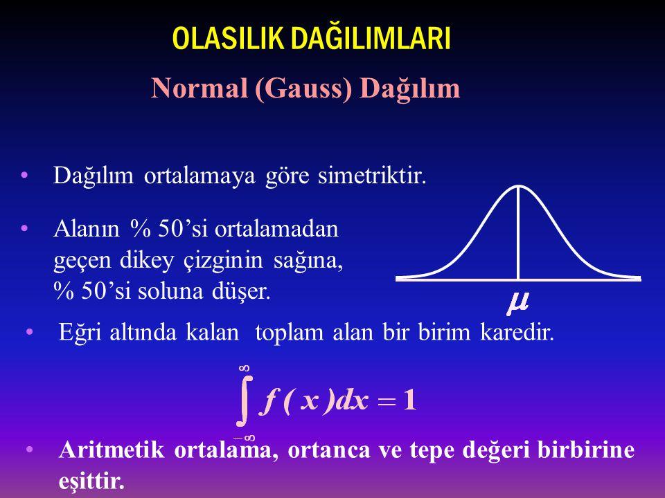 Aritmetik ortalama, ortanca ve tepe değeri birbirine eşittir.