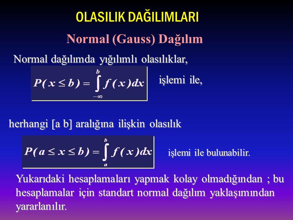 işlemi ile, Normal dağılımda yığılımlı olasılıklar, herhangi [a b] aralığına ilişkin olasılık işlemi ile bulunabilir.