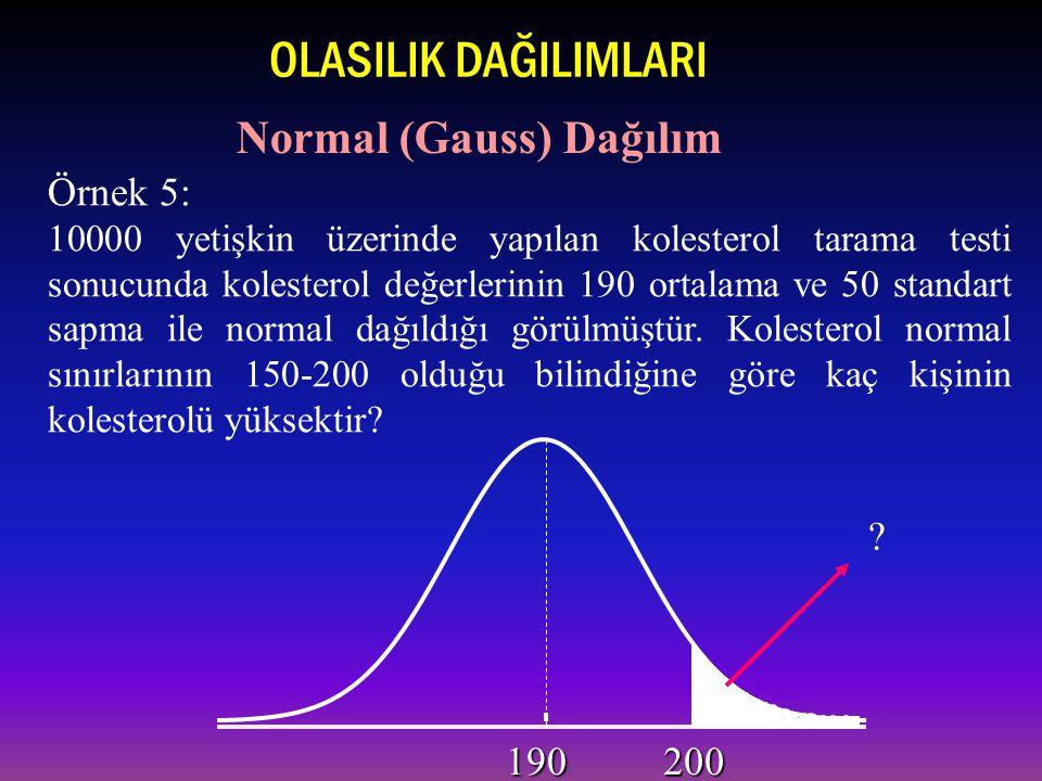 Örnek 5: 10000 yetişkin üzerinde yapılan kolesterol tarama testi sonucunda kolesterol değerlerinin 190 ortalama ve 50 standart sapma ile normal dağıldığı görülmüştür.