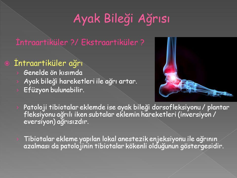 İntraartiküler ?/ Ekstraartiküler ?  İntraartiküler ağrı › Genelde ön kısımda › Ayak bileği hareketleri ile ağrı artar. › Efüzyon bulunabilir. › Pato