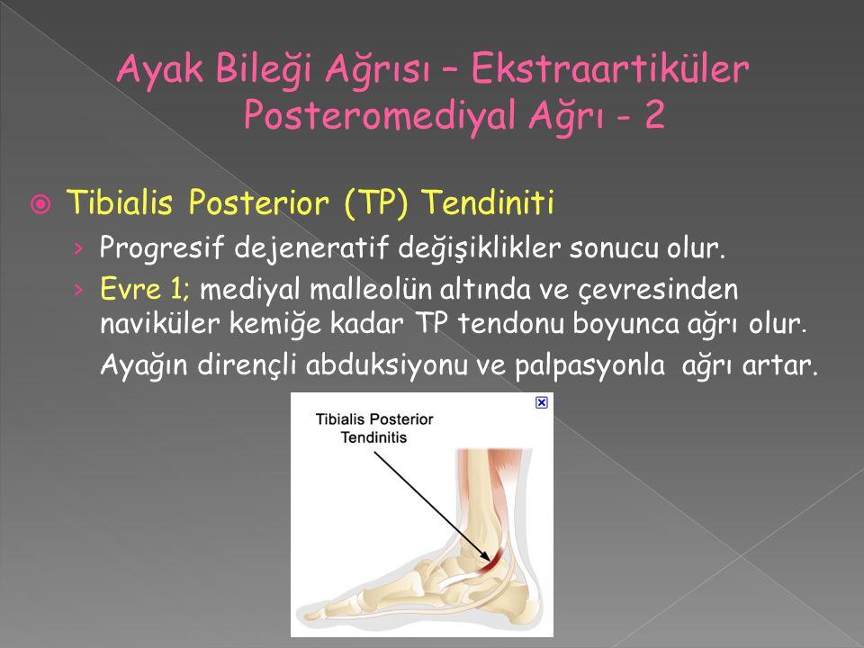  Tibialis Posterior (TP) Tendiniti › Progresif dejeneratif değişiklikler sonucu olur. › Evre 1; mediyal malleolün altında ve çevresinden naviküler ke