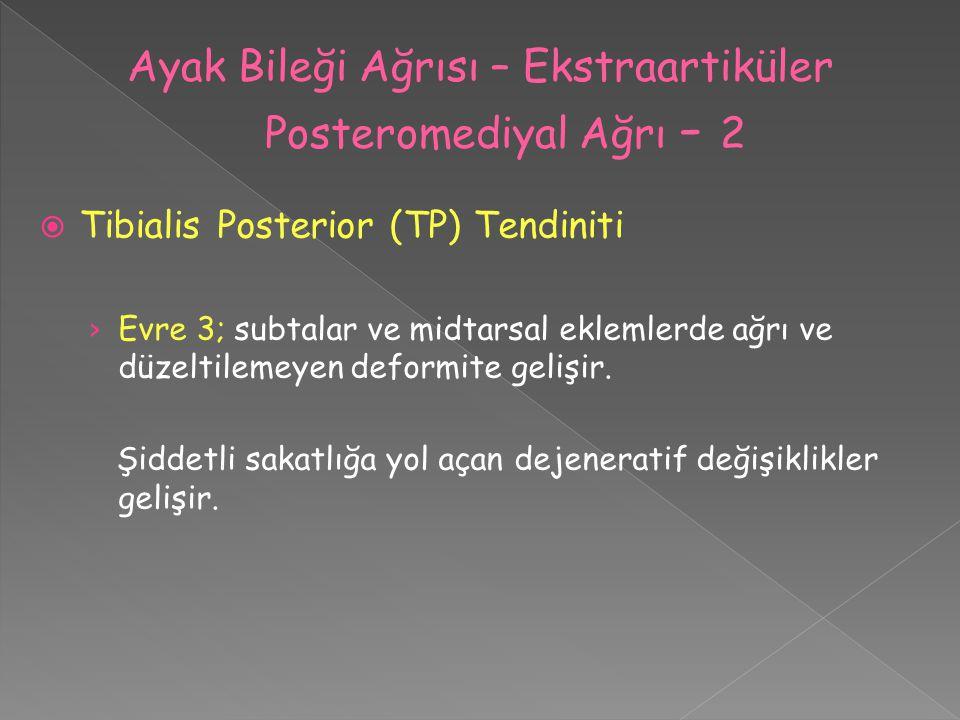  Tibialis Posterior (TP) Tendiniti › Evre 3; subtalar ve midtarsal eklemlerde ağrı ve düzeltilemeyen deformite gelişir. Şiddetli sakatlığa yol açan d
