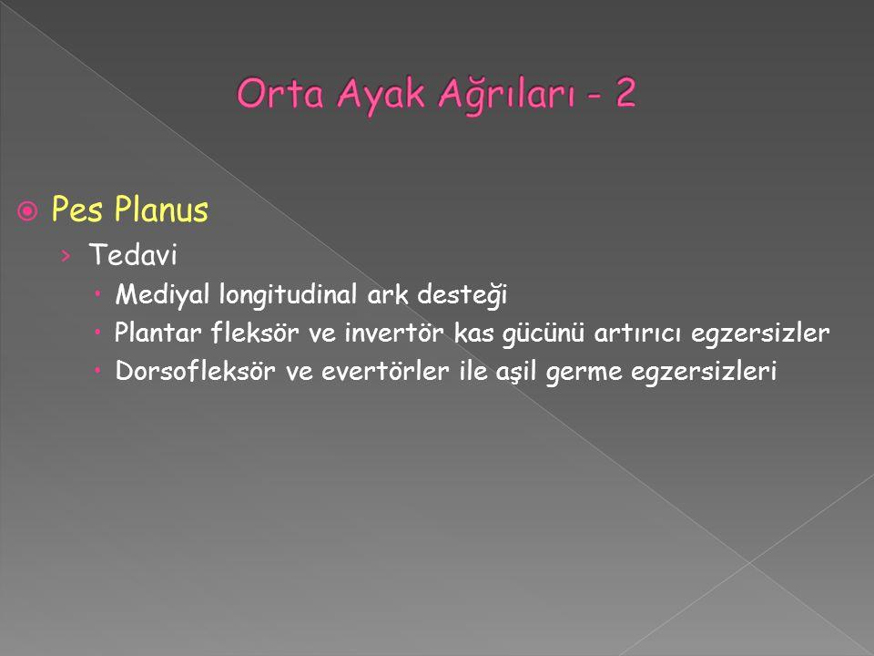  Pes Planus › Tedavi  Mediyal longitudinal ark desteği  Plantar fleksör ve invertör kas gücünü artırıcı egzersizler  Dorsofleksör ve evertörler il