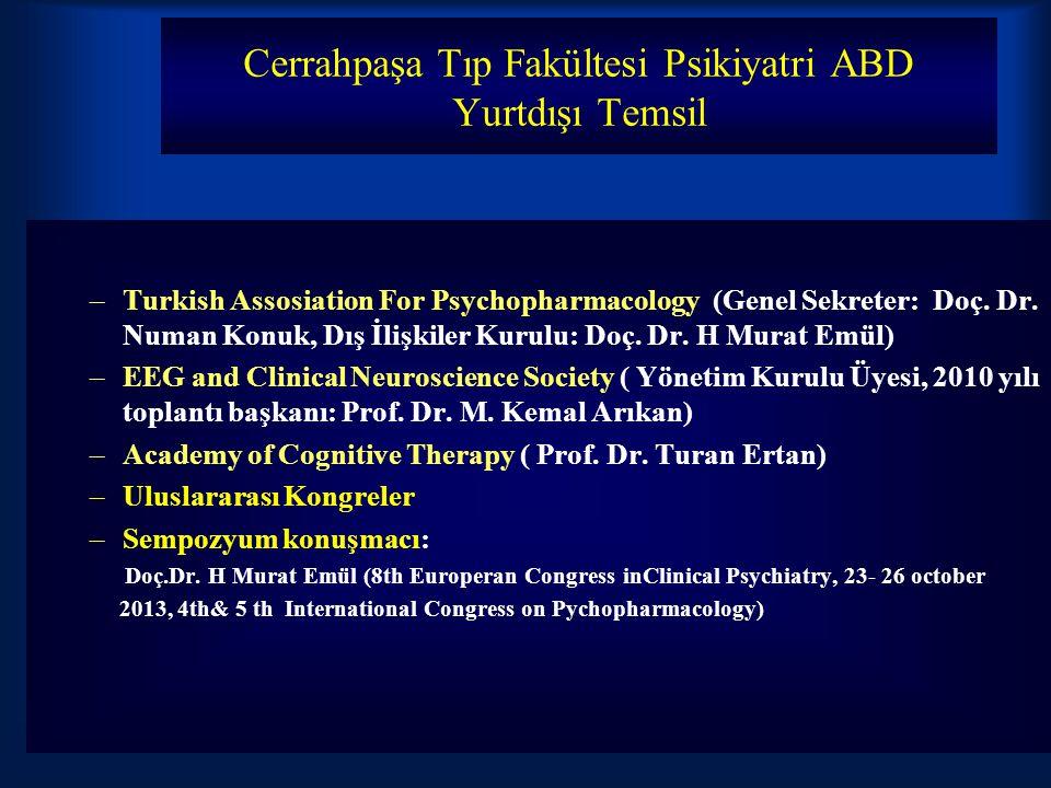 Cerrahpaşa Tıp Fakültesi Psikiyatri ABD Yurtdışı Temsil –Turkish Assosiation For Psychopharmacology (Genel Sekreter: Doç. Dr. Numan Konuk, Dış İlişkil