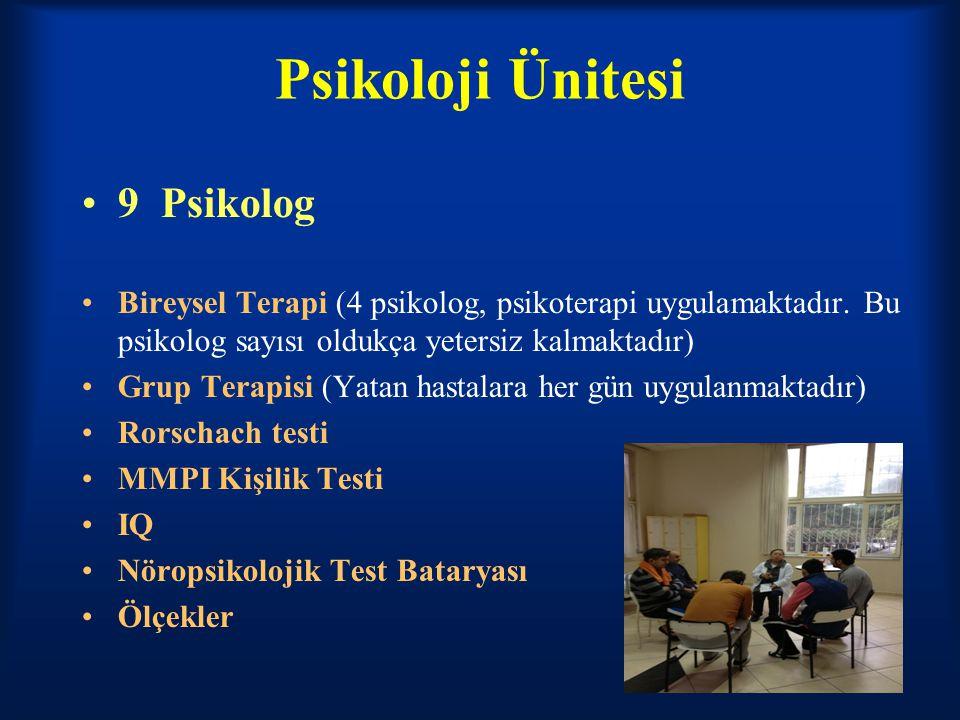 Psikoloji Ünitesi 9 Psikolog Bireysel Terapi (4 psikolog, psikoterapi uygulamaktadır. Bu psikolog sayısı oldukça yetersiz kalmaktadır) Grup Terapisi (