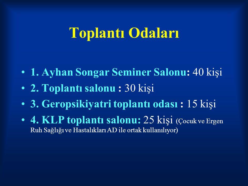 Toplantı Odaları 1. Ayhan Songar Seminer Salonu: 40 kişi 2. Toplantı salonu : 30 kişi 3. Geropsikiyatri toplantı odası : 15 kişi 4. KLP toplantı salon