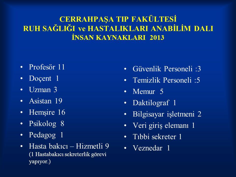 CERRAHPAŞA TIP FAKÜLTESİ RUH SAĞLIĞI ve HASTALIKLARI ANABİLİM DALI İNSAN KAYNAKLARI 2013 Profesör 11 Doçent 1 Uzman 3 Asistan 19 Hemşire 16 Psikolog 8