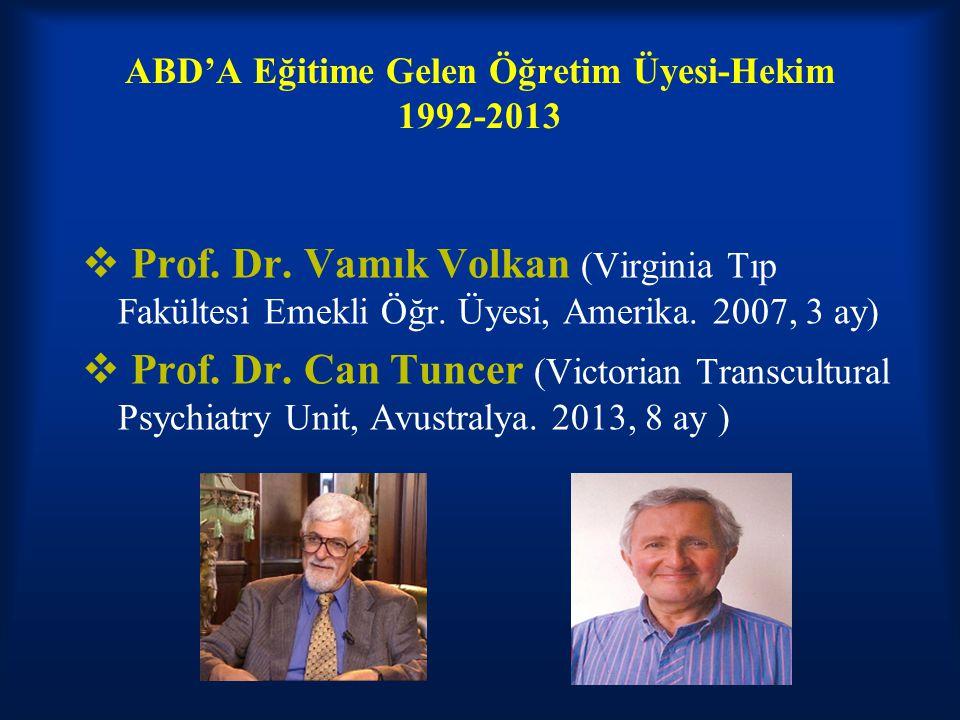 ABD'A Eğitime Gelen Öğretim Üyesi-Hekim 1992-2013  Prof. Dr. Vamık Volkan (Virginia Tıp Fakültesi Emekli Öğr. Üyesi, Amerika. 2007, 3 ay)  Prof. Dr.
