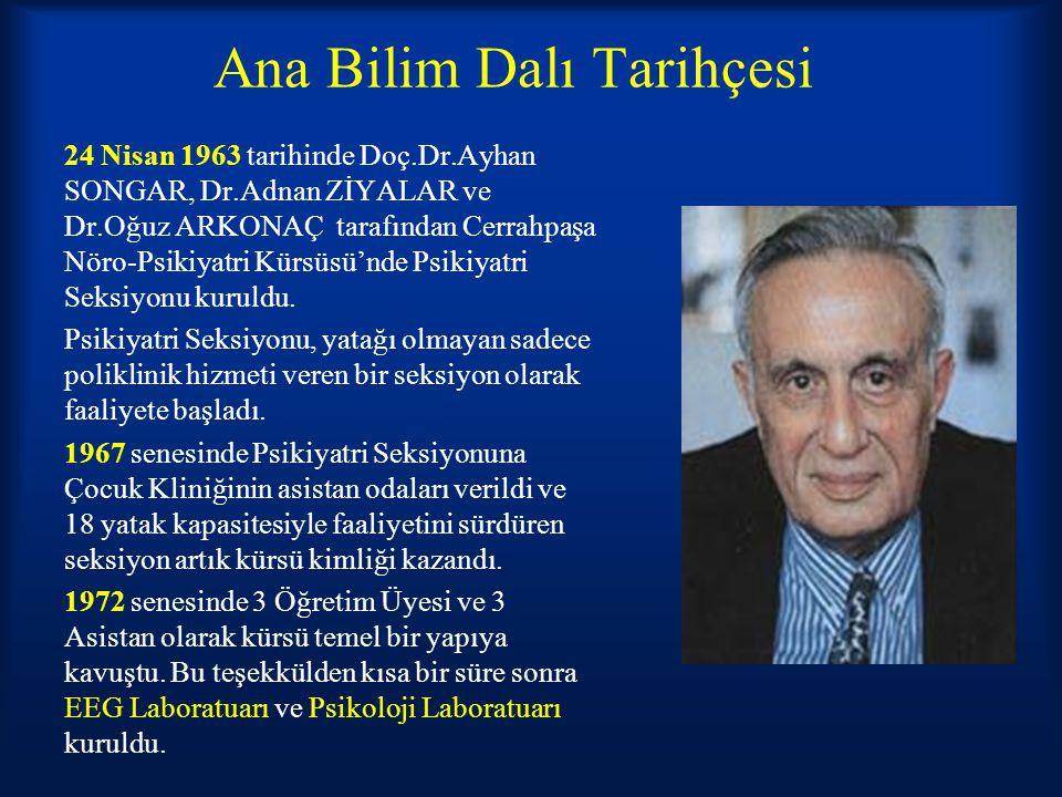 Ana Bilim Dalı Tarihçesi 24 Nisan 1963 tarihinde Doç.Dr.Ayhan SONGAR, Dr.Adnan ZİYALAR ve Dr.Oğuz ARKONAÇ tarafından Cerrahpaşa Nöro-Psikiyatri Kürsüs