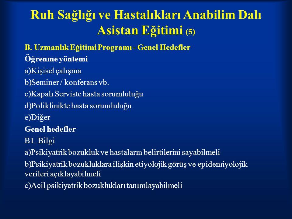 Ruh Sağlığı ve Hastalıkları Anabilim Dalı Asistan Eğitimi (5) B. Uzmanlık Eğitimi Programı - Genel Hedefler Öğrenme yöntemi a)Kişisel çalışma b)Semine