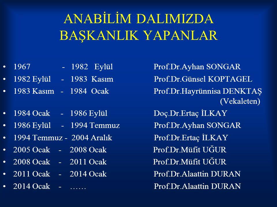 ANABİLİM DALIMIZDA BAŞKANLIK YAPANLAR 1967 - 1982 Eylül Prof.Dr.Ayhan SONGAR 1982 Eylül - 1983 Kasım Prof.Dr.Günsel KOPTAGEL 1983 Kasım - 1984 Ocak Pr