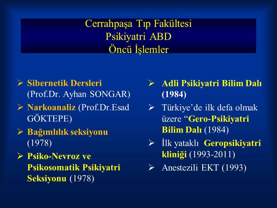 Cerrahpaşa Tıp Fakültesi Psikiyatri ABD Öncü İşlemler  Sibernetik Dersleri (Prof.Dr. Ayhan SONGAR)  Narkoanaliz (Prof.Dr.Esad GÖKTEPE)  Bağımlılık