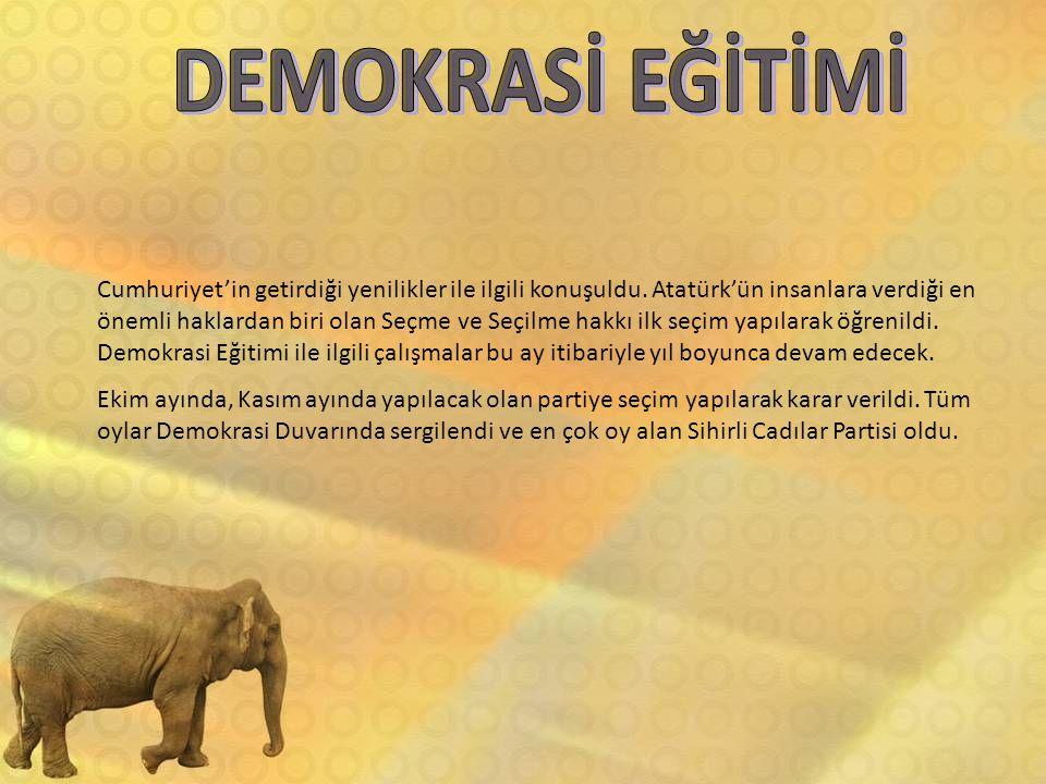 Cumhuriyet'in getirdiği yenilikler ile ilgili konuşuldu. Atatürk'ün insanlara verdiği en önemli haklardan biri olan Seçme ve Seçilme hakkı ilk seçim y