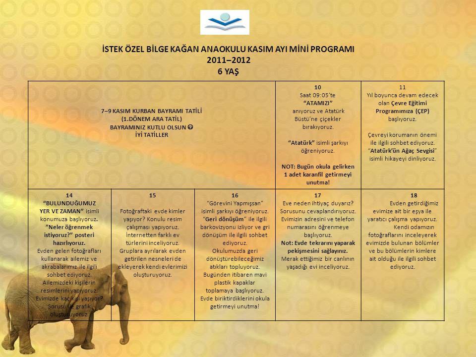 İSTEK ÖZEL BİLGE KAĞAN ANAOKULU KASIM AYI MİNİ PROGRAMI 2011–2012 6 YAŞ 7–9 KASIM KURBAN BAYRAMI TATİLİ (1.DÖNEM ARA TATİL) BAYRAMINIZ KUTLU OLSUN İYİ