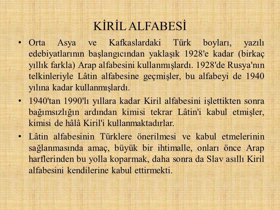 KİRİL ALFABESİ Orta Asya ve Kafkaslardaki Türk boyları, yazılı edebiyatlarının başlangıcından yaklaşık 1928'e kadar (birkaç yıllık farkla) Arap alfabe