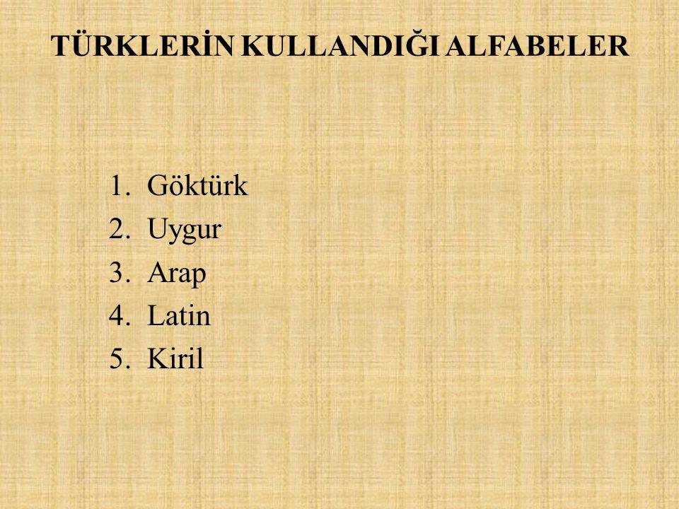 TÜRKLERİN KULLANDIĞI ALFABELER 1.Göktürk 2.Uygur 3.Arap 4.Latin 5.Kiril