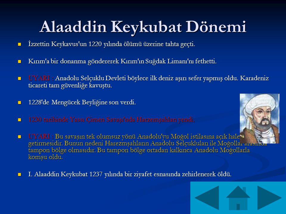 Alaaddin Keykubat Dönemi İzzettin Keykavus un 1220 yılında ölümü üzerine tahta geçti.