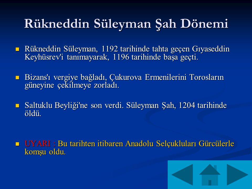 Rükneddin Süleyman Şah Dönemi Rükneddin Süleyman, 1192 tarihinde tahta geçen Gıyaseddin Keyhüsrev i tanımayarak, 1196 tarihinde başa geçti.